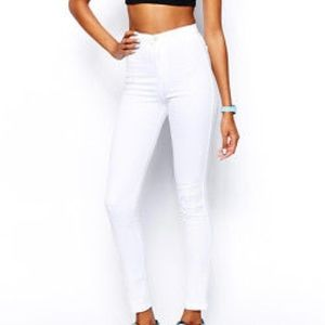 American apparel white high rise jeans